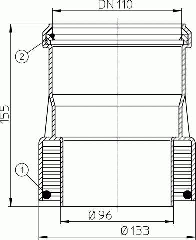 HL9/1ET Átmeneti idom DM110 műanyag/eternit