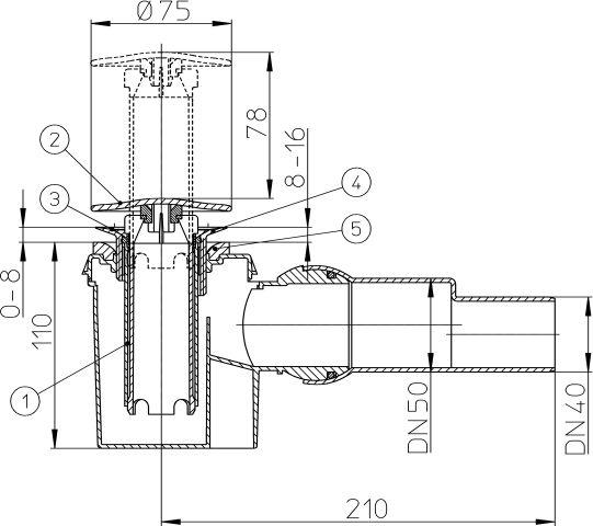 """HL524 Zuhanytálca szifon, DN40/50/6/4"""" elfordítható kimenettel, beépített túlfolyó csővel, fedéllel"""