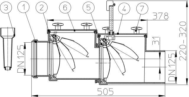 HL712.2 Visszatorlás gátló szelep, DN125, 2 db. nemesacél csappantyúval, tisztítófedéllel, kézi zárral