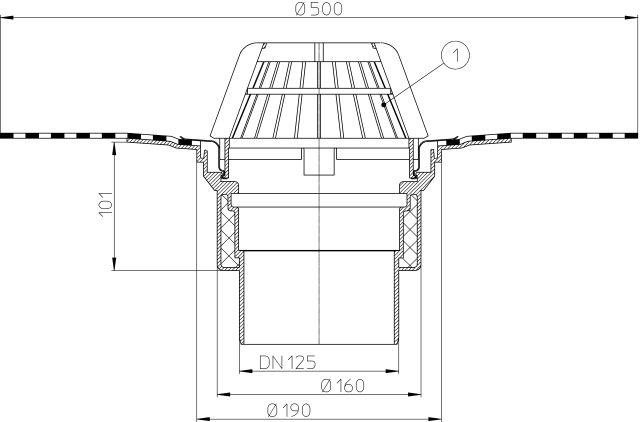 HL62H/2 Tetőlefolyó DN125 szigetelőkarimával, gyárilag felhegesztett bitumengallérral