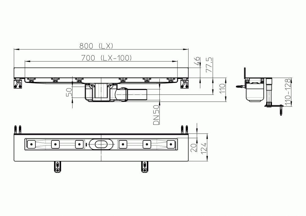 HL50W.0/80 Zuhanyfolyóka nemesacélból a padló és a fal találkozásába építve, DN50 kimenetű lefolyóval, szerelési segédanyagokkal, fedél nélkül. Beépítési hossz 800mm.
