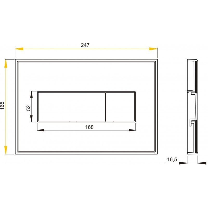 AlcaPLAST M1474-AEZ114, Nyomógomb előtétfalas rendszerekhez színes betéttel (Fekete-fényes) és háttérvilágítással (Szivárvány)