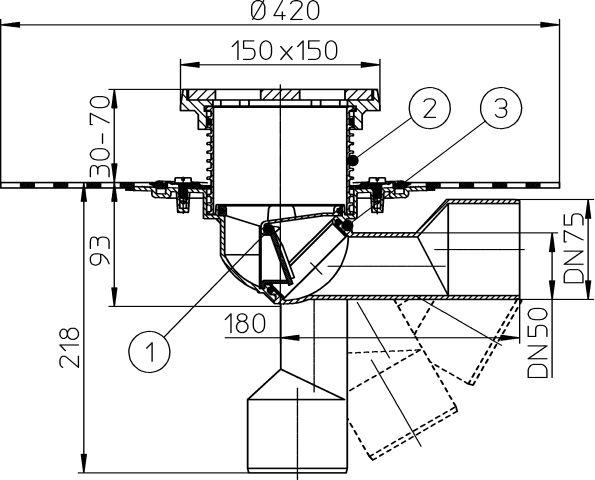 HL81GH Balkon- és teraszlefolyó DN50/75 elfordítható kimenettel, gyárilag felhegesztett bitumengallérral, mechanikus bűzzárral, 150x150mm/137x137mm öntöttvas rácstartóval és ráccsal