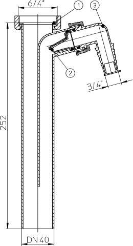 HL13/40 Bekötőcső DN40x6/4' mosógép-csatlakozóval