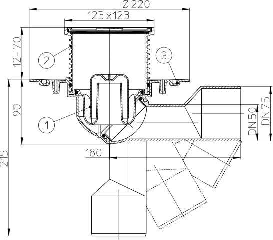 HL80.1 Padlólefolyó DN50/75 elfordítható kimenettel, szigetelő karimával, vízbűzzárral, 123x123mm/115x115mm
