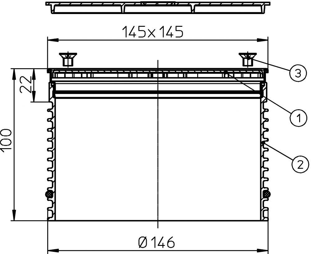 HL3911 Rácstartó d 146mm, 145x145mm nemesacél kerettel (V4A), 138x138mm lecsavarozható nemesacél lefolyóráccsal.