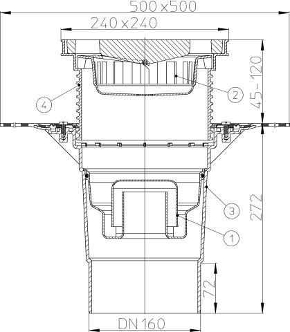HL616HW/5 Perfekt lefolyó DN160 függőleges kimenettel, gyárilag felhegesztett bitumengallérral, 244x244mm műanyag kerettel, 226x226mm öntöttvas ráccsal, vízbűzzárral, szemétfogó kosárral.