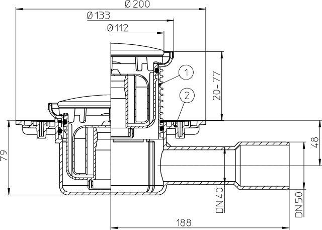 """HL510NPrR Padlólefolyó DN40/50 vízszintes kimenettel, """"Primus"""" bűzzárral, d 133 nemesacél gyűrűvel, d 112 nemesacél fedéllel"""
