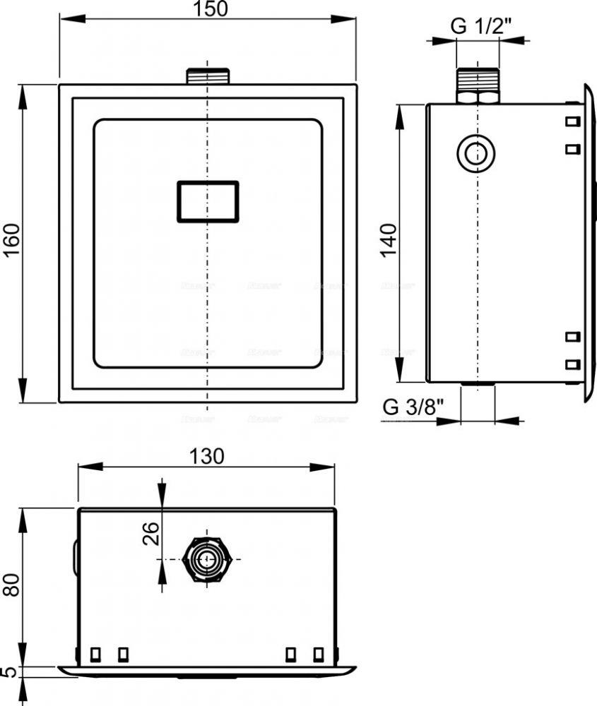 AlcaPLAST ASP4KB, Automata piszoáröblítő, 6V (elemes táplálás)