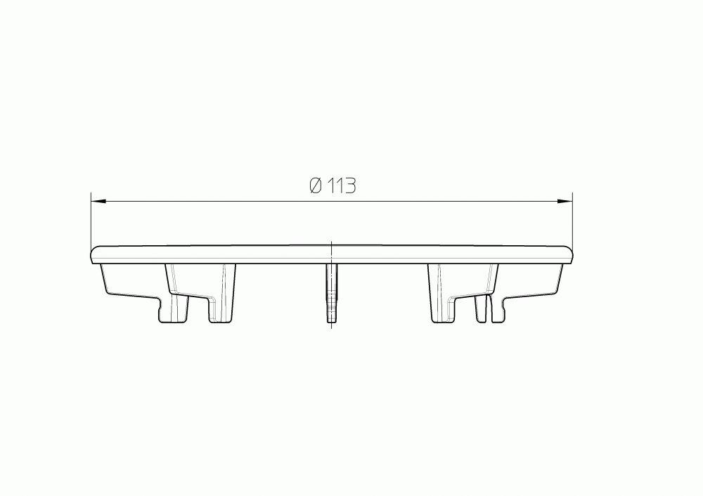 HL522.1 Fedél d 113mm nemesacél