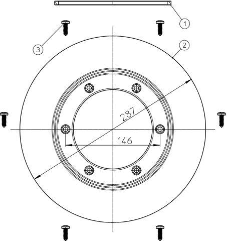 HL83.P Szigetelő készlet d 287mm PVC karimával