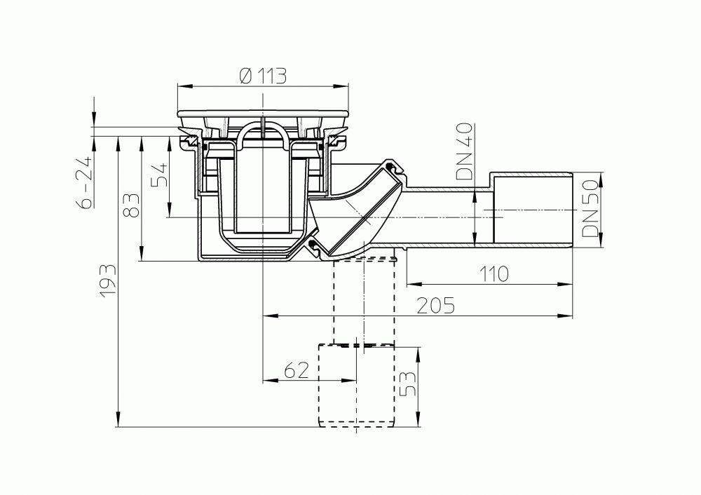 HL522 Zuhanytálca szifon, DN40/50 elfordítható kimenettel, d 90mm nyíláshoz, d 113mm nemesacél fedéllel