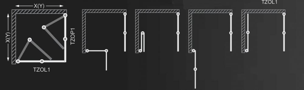 Roltechnik TZOL1+TZOP1/1200 szögletes zuhanykabin / 120x200 cm / brillant profillal / transparent üveggel