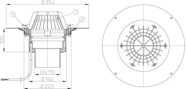 HL62.1/1 Tetőlefolyó DN110 szigetelőkarimával, szorítóelemmel és 10-30W/230V fűtéssel