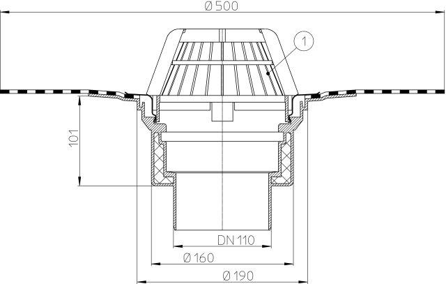 HL62H/1 Tetőlefolyó DN110 szigetelőkarimával, gyárilag felhegesztett bitumengallérral