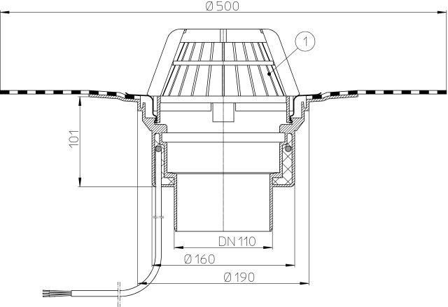 HL62.1H/1 Tetőlefolyó DN110, gyárilag felhegesztett bitumengallérral, és 10-30W/230V fűtéssel