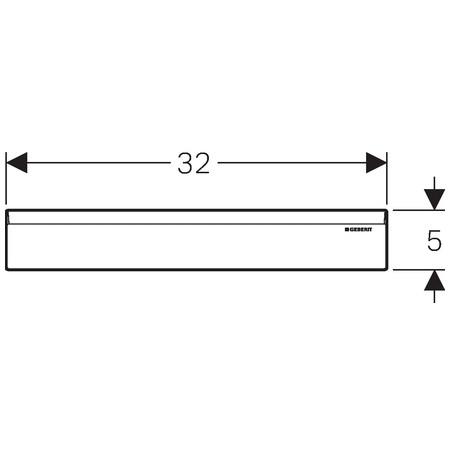 Geberit takarólap zuhany szerelőelemhez / 32x5 cm, fényes króm / 154.335.21.1 / 154335211