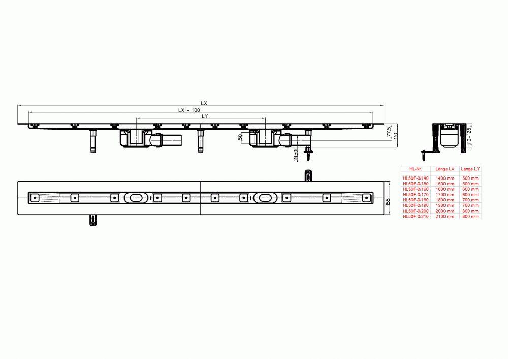 HL50F.0/210 Sík kivitelű zuhanyfolyóka nemesacélból, DN50 kimenetű lefolyóval, szerelési segédanyagokkal, fedőléc nélkül. Beépítési hossz 2100mm.