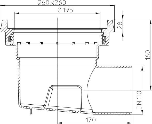 HL605.1K Perfekt lefolyó test DN110 vízszintes kimenettel, 260x260mm öntöttvas kerettel
