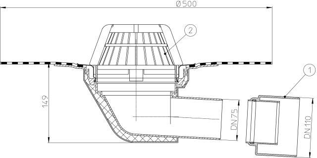 HL64H Tetőlefolyó vízszintes kimenettel, DN75/110 szigetelőkarimával, gyárilag felhegesztett bitumengallérral