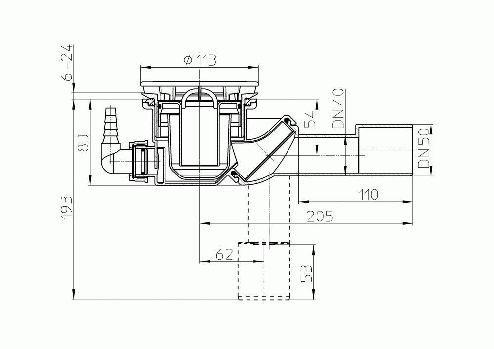 HL522V Zuhanytálca szifon, DN40/50 elfordítható kimenettel, d 90mm nyíláshoz, d 112mm nemesacél fedéllel, HL19.2 tömlőcsatlakozóval