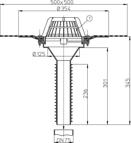 HL69H/7 Tetőlefolyó, DN75 tetőjavításhoz, gyárilag felhegesztett bitumengallérral