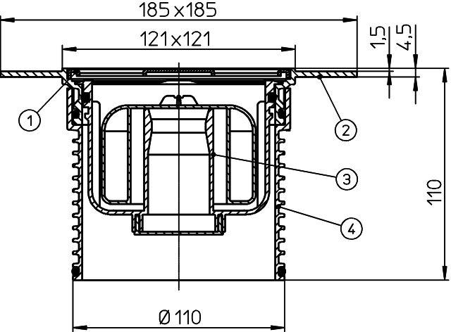 """HL37NPPr Rácstartó PVC -ből d 110mm/185x185mm 115x115mm nemesacél ráccsal, """"Primus"""" bűzzárral"""