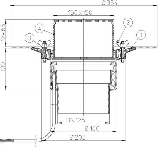 HL62.1B/2 Tetőlefolyó DN125 szigetelőkarimával, szorítóelemmel, lefolyóráccsal és 10-30W/230V fűtéssel