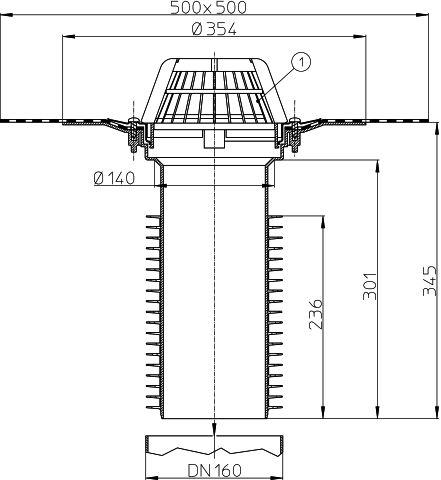 HL69H/5 Tetőlefolyó, DN160 tetőjavításhoz, gyárilag felhegesztett bitumengallérral