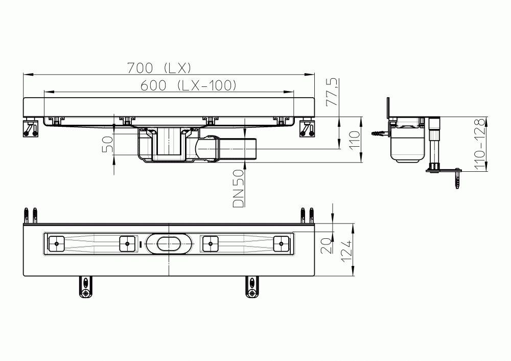 HL50W.0/70 Zuhanyfolyóka nemesacélból a padló és a fal találkozásába építve, DN50 kimenetű lefolyóval, szerelési segédanyagokkal, fedél nélkül. Beépítési hossz 700mm.
