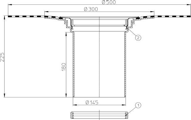 HL350.1H Magasító elemet 180mm/d 145mm bitumengallérral