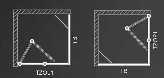 Roltechnik TZOL1+TZOP1/900 szögletes zuhanykabin / 90x200 cm / brillant profillal / transparent üveggel