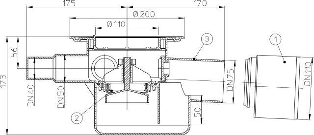 HL70K Padlólefolyó test DN75/110 vízszintes kimenettel, szigetelő karimával, visszacsapó szeleppel, 3 db. DN40/50 bemenettel