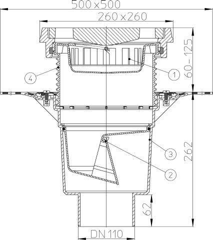 HL616.1H/1 Perfekt lefolyó DN110 függőleges kimenettel, gyárilag felhegesztett bitumengallérral, 260x260mm öntöttvas kerettel, 226x226mm öntöttvas ráccsal, mechanikus bűzzárral, szemétfogó kosárral.