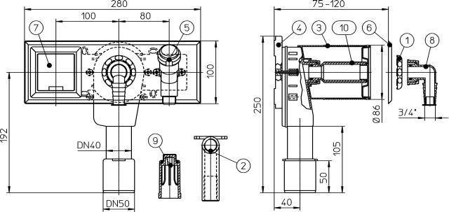 """HL406E Mosógép-szifon falba süllyesztve DN40/50, 1/2"""" légbeszívós sarokszeleppel, 110x280 nemesacél fedéllel, elektromos dugaszoló aljzattal"""