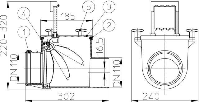 HL710.1 Visszatorlás gátló szelep, DN110 nemesacél csappantyúval, tisztítófedéllel, kézi zárral