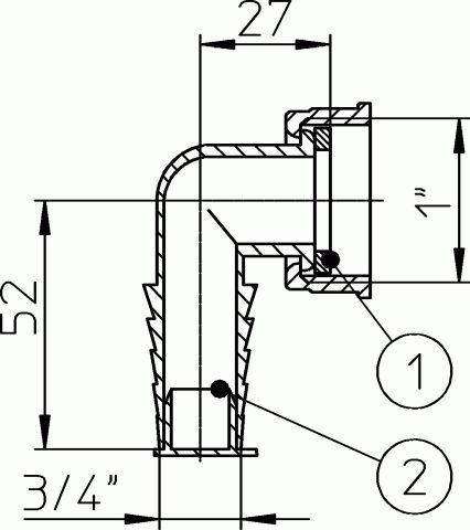 HL19.0 Tömlővég csatlakozókönyök 1'x3/4', síktömítéssel