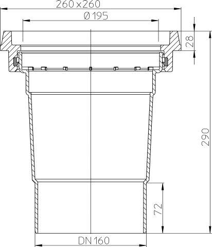 HL606.1K/5 Perfekt lefolyó test DN160függőleges kimenettel, 260x260mm öntöttvas kerettel