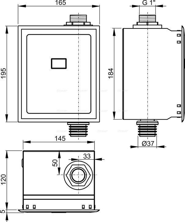 AlcaPLAST ASP3-KBT, Automatikus WC öblítő kézi vezérléssel fém, 6 V (akkumulátor)