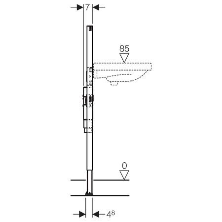 Geberit Duofix mosdó szerelőelem álló csapteleppel szerelt fali mosdó részére, falsík alatti szifonnal / 111.480.00.1 / 111480001