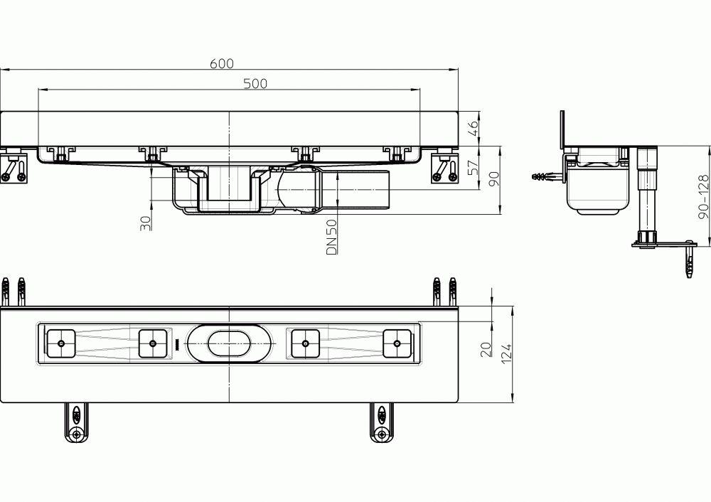 HL50WF.0/60 Alacsony beépítési magasságú zuhanyfolyóka nemesacélból a padló és a fal találkozásába építve, DN50 kimenetű lefolyóval, szerelési segédanyagokkal, fedél nélkül. Beépítési hossz 600mm