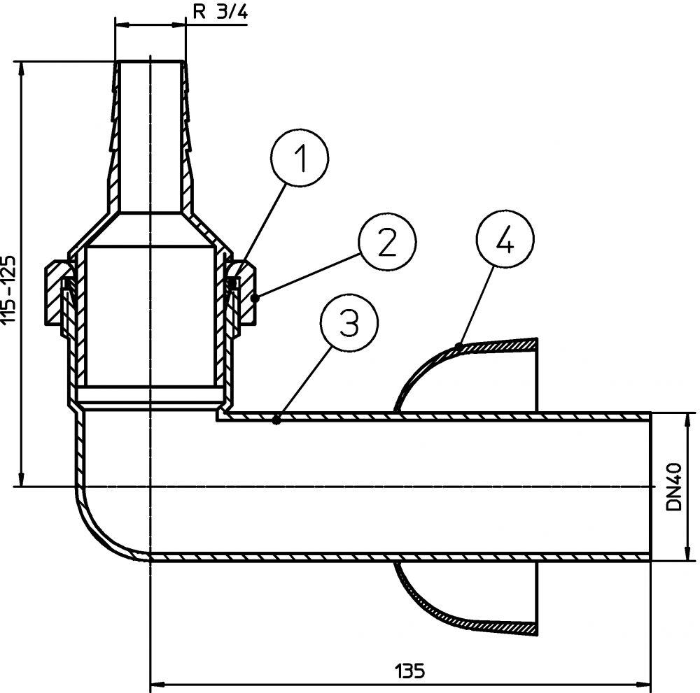 HL444 Csatlakozó könyök (DN40) Sanibroy-WC-k hez