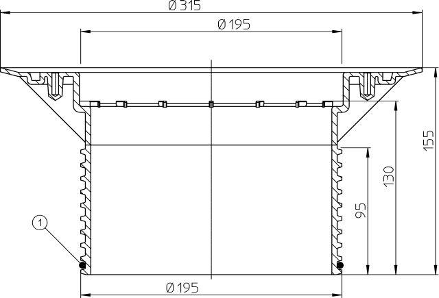 HL618 Magasító elem 130mm/d 195mm szigetelő karimával