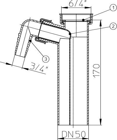 HL13/50 Bekötőcső DN50x6/4' mosógép-csatlakozóval