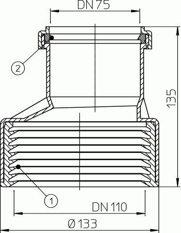 HL9/7/1 Átmeneti idom DM75/110 műanyag/öntöttvas