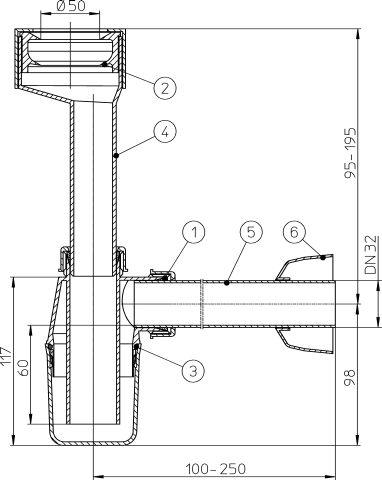HL130/30 Vizeldeszifon DN32 csatlakozó-mandzsettával és rosettával