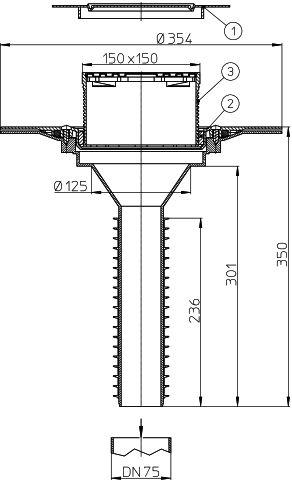 HL69BP/7 Lapostető lefolyó felújításhoz, DN75 csőhöz, PVC karimával, járható kivitel (148x148mm/137x137mm).