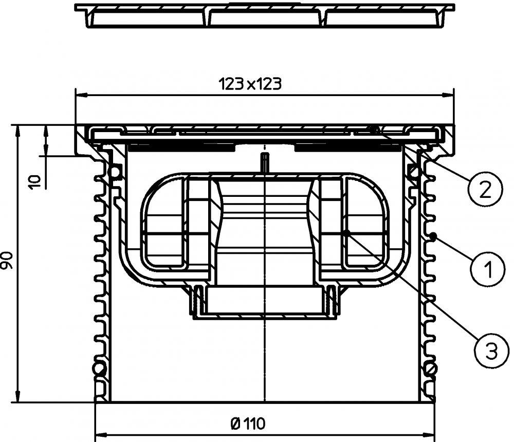 """HL37FPr Rácstartó d 110mm, 121x121mm/115x115mm nemesacél kerettel és ráccsal, """"PRIMUS"""" szifonbetéttel."""