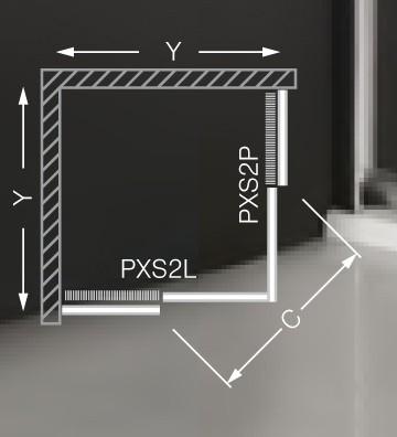 Roltechnik PXS2L+PXS2P szögletes zuhanykabin / 90x90x185 / brillant profillal / satinato üveggel