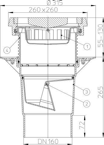HL616.1/5 Perfekt lefolyó DN160 függőleges kimenettel, szigetelő karimával, 260x260mm öntöttvas kerettel, 226x226mm öntöttvas ráccsal, mechanikus bűzzárral, szemétfogó kosárral.